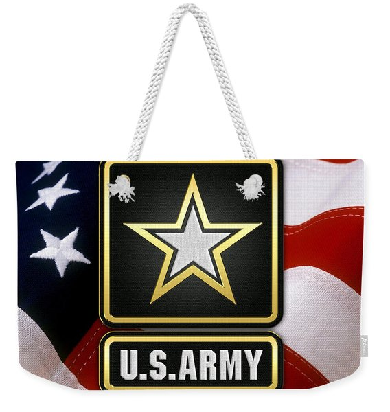 U. S. Army Logo Over American Flag. Weekender Tote Bag