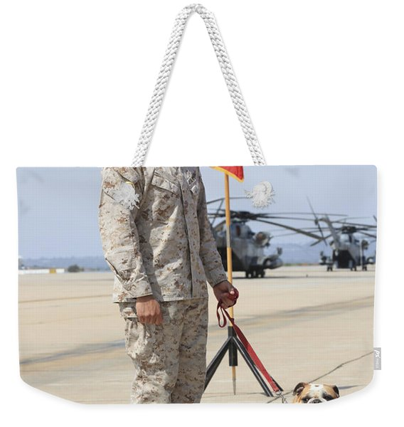U.s. Marine And The Official Mascot Weekender Tote Bag
