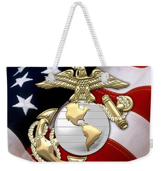 U. S. Marine Corps - U S M C Eagle Globe And Anchor Over American Flag. Weekender Tote Bag
