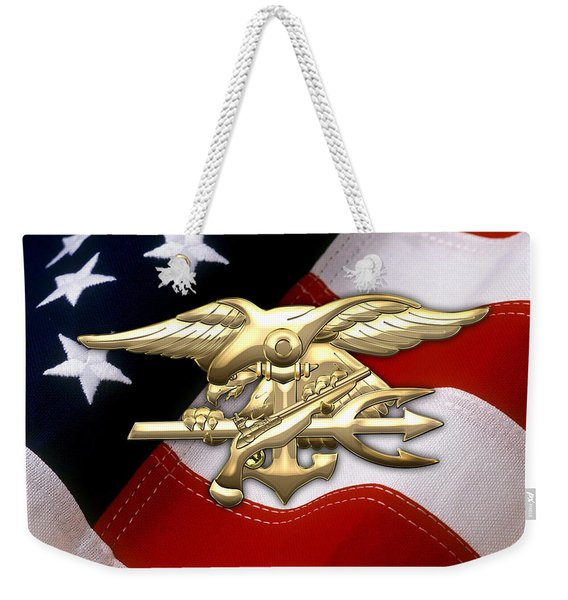 U. S. Navy S E A Ls Emblem Over American Flag Weekender Tote Bag