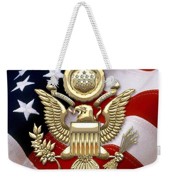 U. S. A. Great Seal In Gold Over American Flag  Weekender Tote Bag