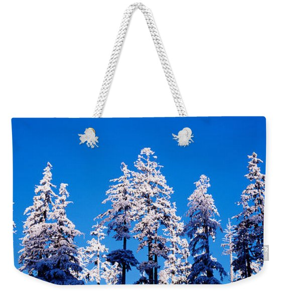 Usa, Oregon, Pine Trees, Winter Weekender Tote Bag