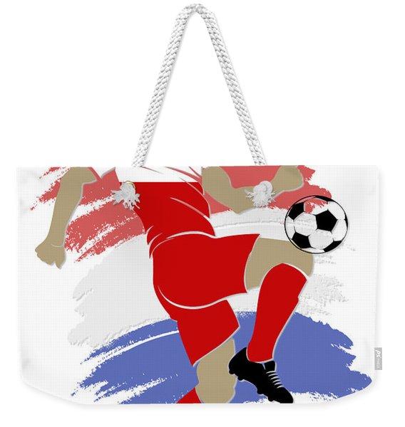 Usa Soccer Player Weekender Tote Bag