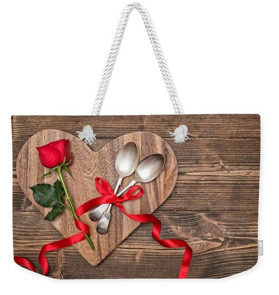 Valentine Table Setting Weekender Tote Bag