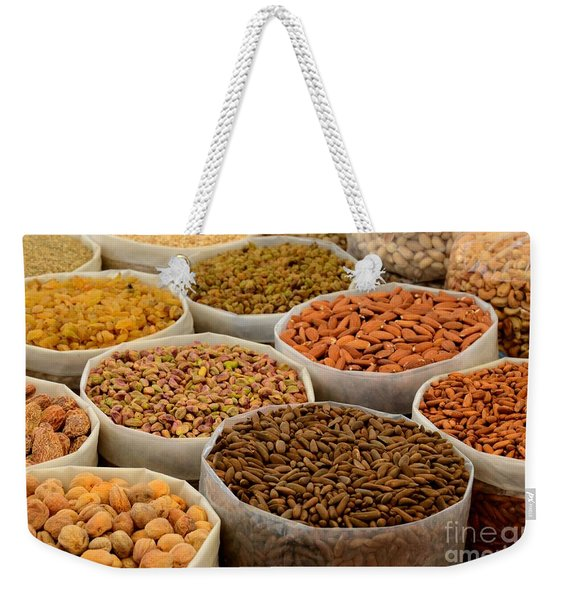 Variety Of Raw Nuts For Sale At Outdoor Street Market Karachi Pakistan Weekender Tote Bag