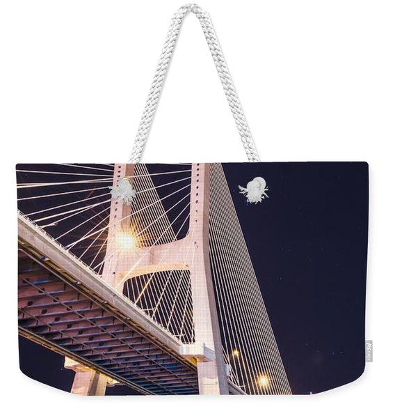 Vasco Da Gama Bridge At Night Weekender Tote Bag