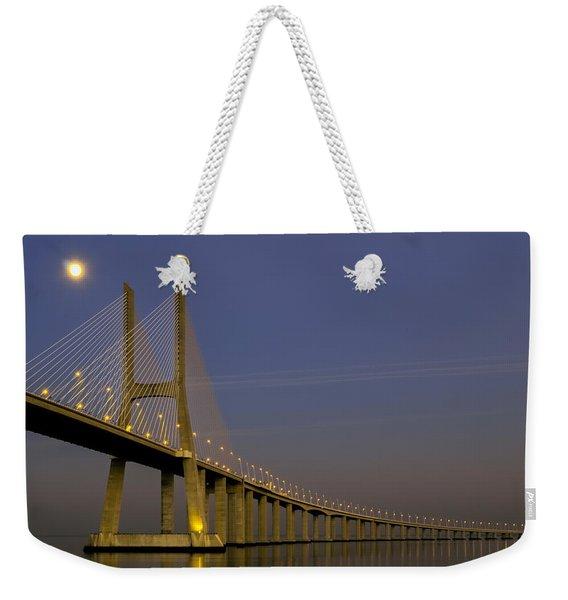 Vasco Da Gama Bridge In The Moonlight Weekender Tote Bag
