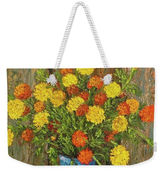 Vase Of Marigolds Weekender Tote Bag