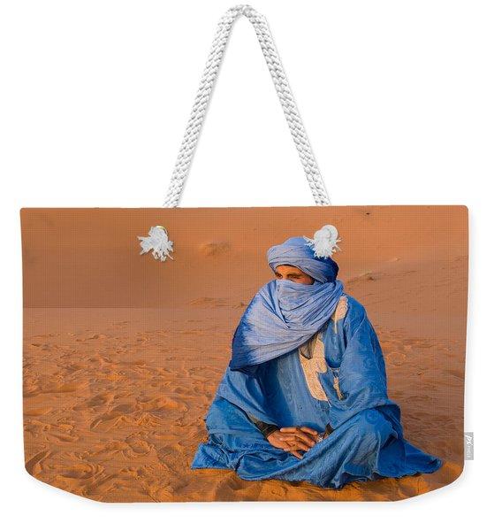 Veiled Tuareg Man Sitting Cross-legged Weekender Tote Bag