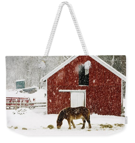 Vermont Christmas Eve Snowstorm Weekender Tote Bag