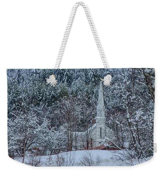 Vermont Church In Snow Weekender Tote Bag