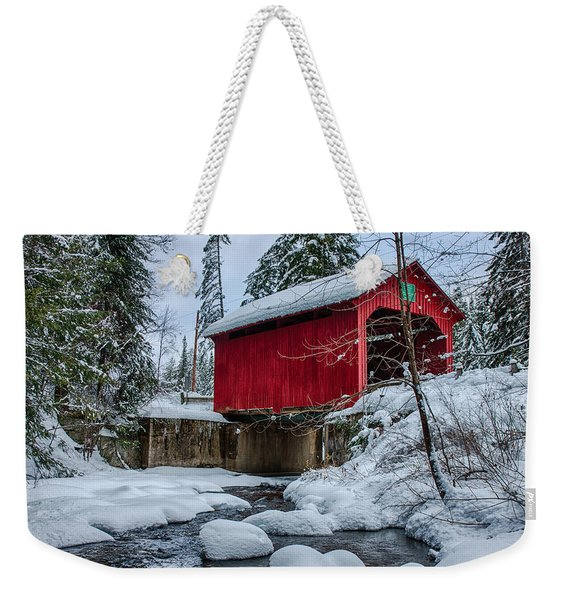 Weekender Tote Bag featuring the photograph Vermonts Moseley Covered Bridge by Jeff Folger