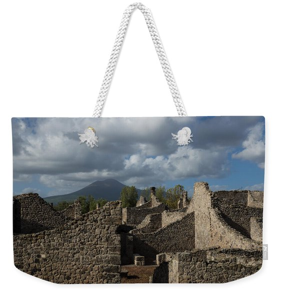 Vesuvius Towering Over The Pompeii Ruins Weekender Tote Bag