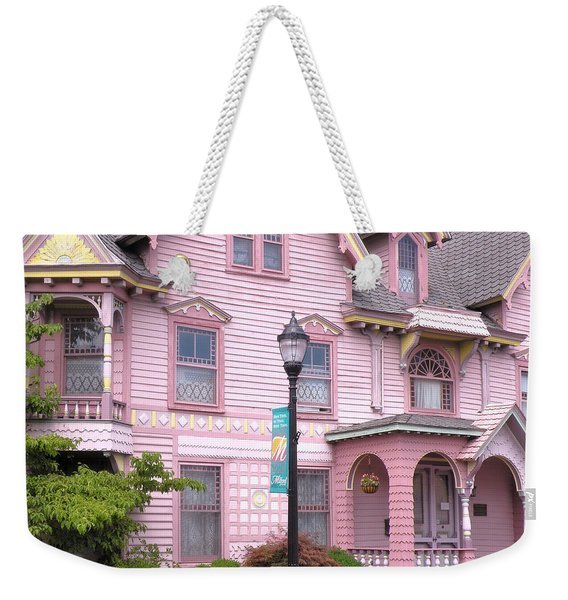 Weekender Tote Bag featuring the photograph Victorian Pink House - Milford Delaware by Kim Bemis