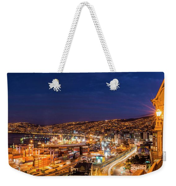 View Of City And Ports At Dusk Weekender Tote Bag