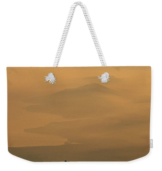 View Of Mist Over Lake And Hills Weekender Tote Bag