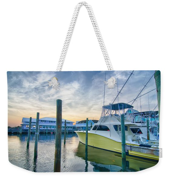 View Of Sportfishing Boats At Marina Weekender Tote Bag
