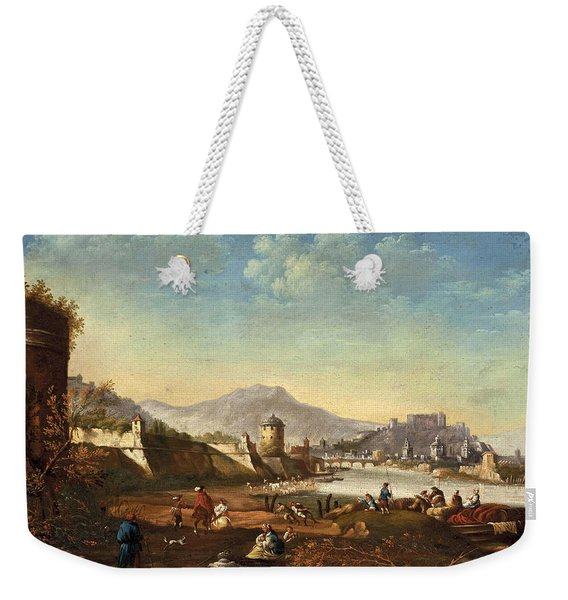 View Of The City Of Salzburg With Fortifications From Mirabell Palace Weekender Tote Bag