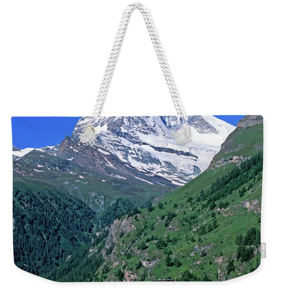 View Of The Matterhorn And The Town Weekender Tote Bag