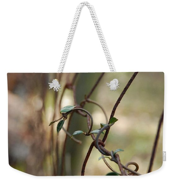 Vine On Rusted Fence Weekender Tote Bag