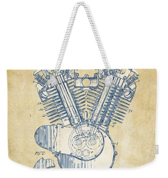 Vintage 1923 Harley Engine Patent Artwork Weekender Tote Bag