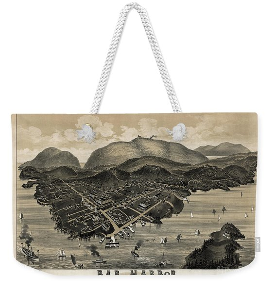 Vintage Bar Harbor Map Weekender Tote Bag
