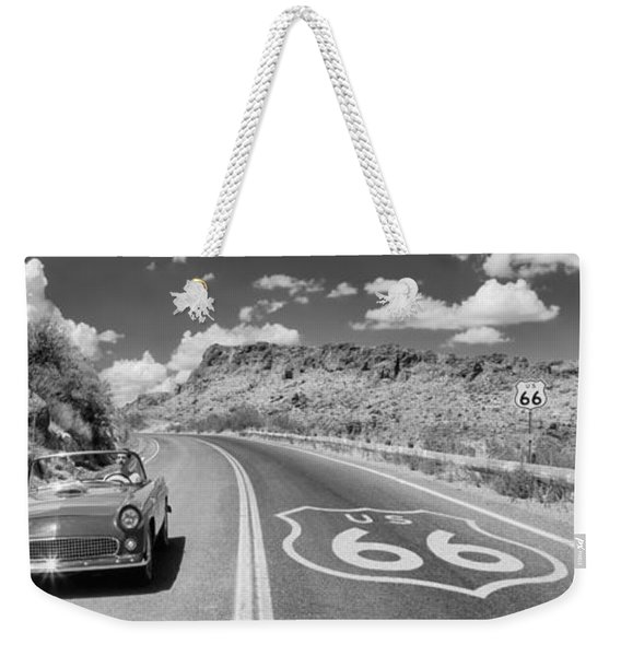 Vintage Car Moving On The Road, Route Weekender Tote Bag