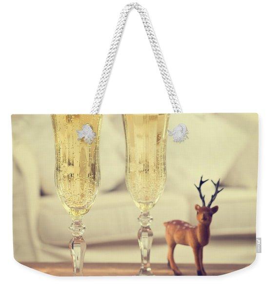 Vintage Champagne Weekender Tote Bag