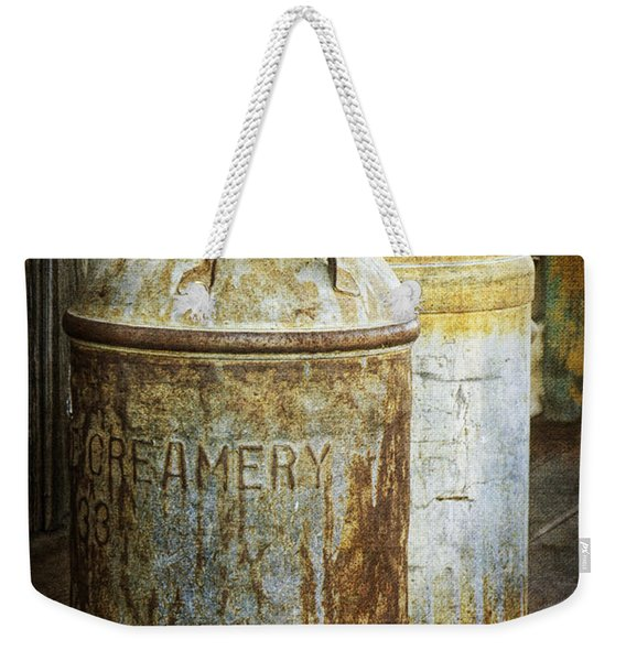 Vintage Creamery Cans In 1880 Town In South Dakota Weekender Tote Bag