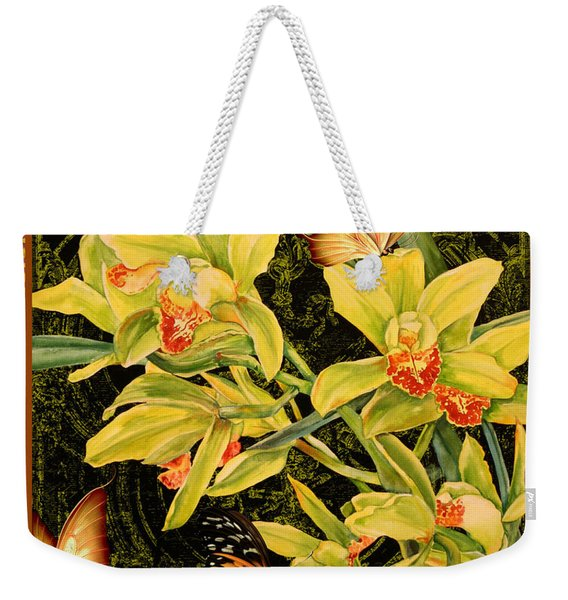 Vintage Iris And Butterflies Weekender Tote Bag