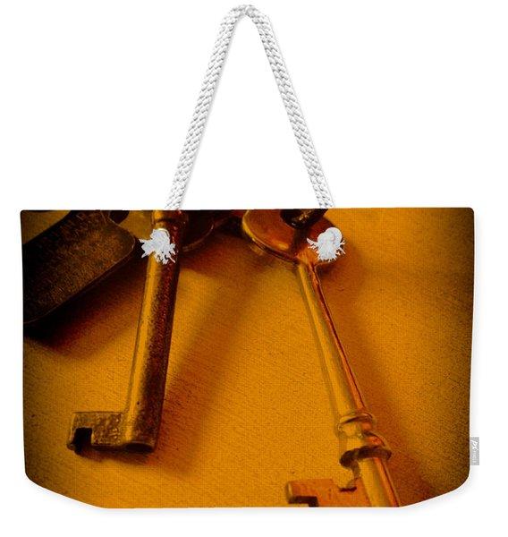 Vintage Keys Deep Antiqued Vignette Weekender Tote Bag
