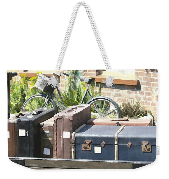 Weekender Tote Bag featuring the photograph Painted Effect - Vintage Luggage by Susan Leonard