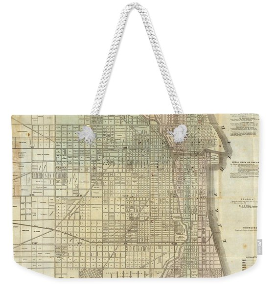 Vintage Map Of Chicago - 1857 Weekender Tote Bag