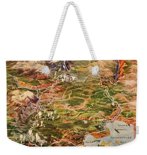Vintage Map Of Yellowstone National Park Weekender Tote Bag