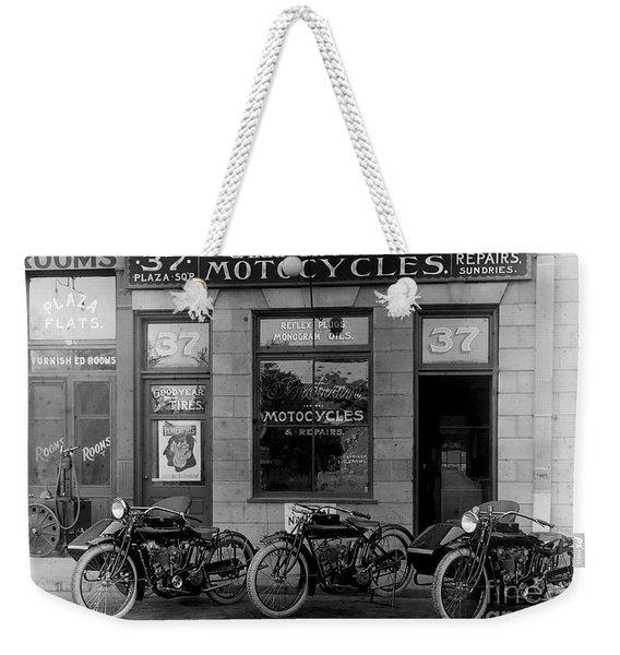 Vintage Motorcycle Dealership Weekender Tote Bag