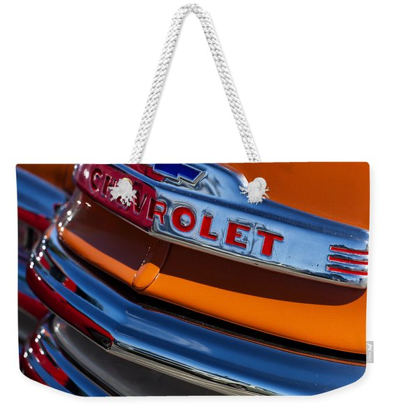 Vintage Orange Chevrolet Weekender Tote Bag