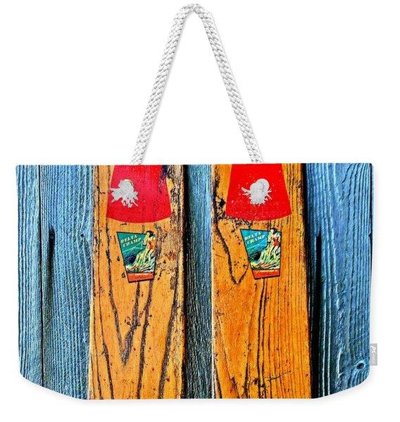Vintage Skis Weekender Tote Bag
