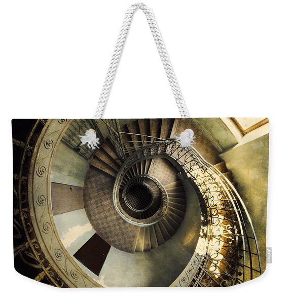 Weekender Tote Bag featuring the photograph Vintage Spiral Staircase by Jaroslaw Blaminsky