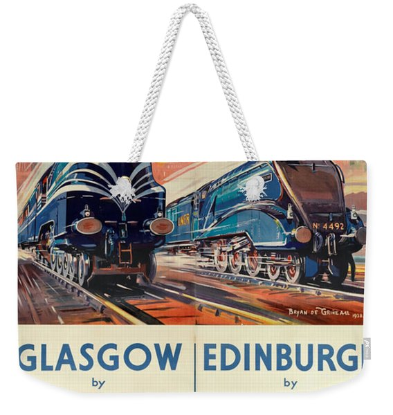 Vintage Train Travel - Glasgow And Edinburgh Weekender Tote Bag