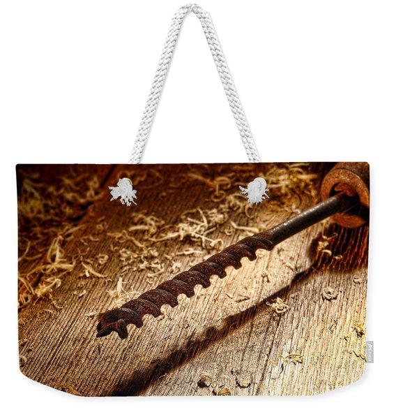 Vintage Wood Drill Weekender Tote Bag