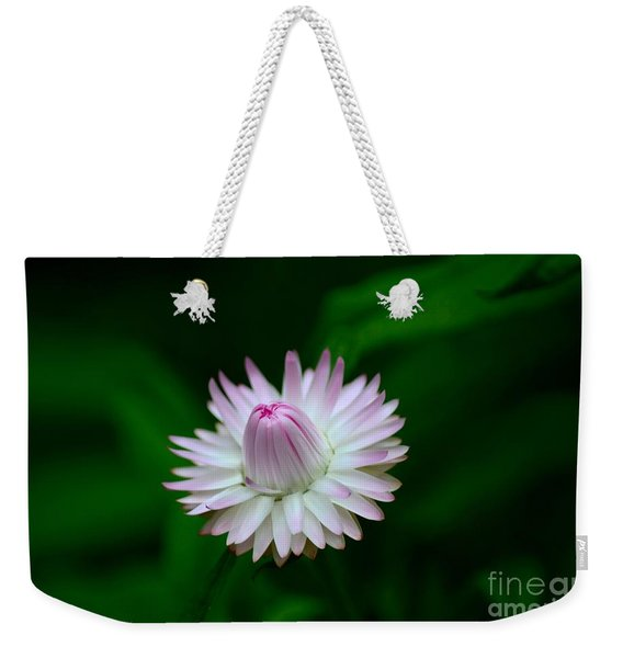 Violet And White Flower Sepals And Bud Weekender Tote Bag
