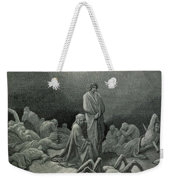 Virgil And Dante Looking At The Spider Woman, Illustration From The Divine Comedy Weekender Tote Bag
