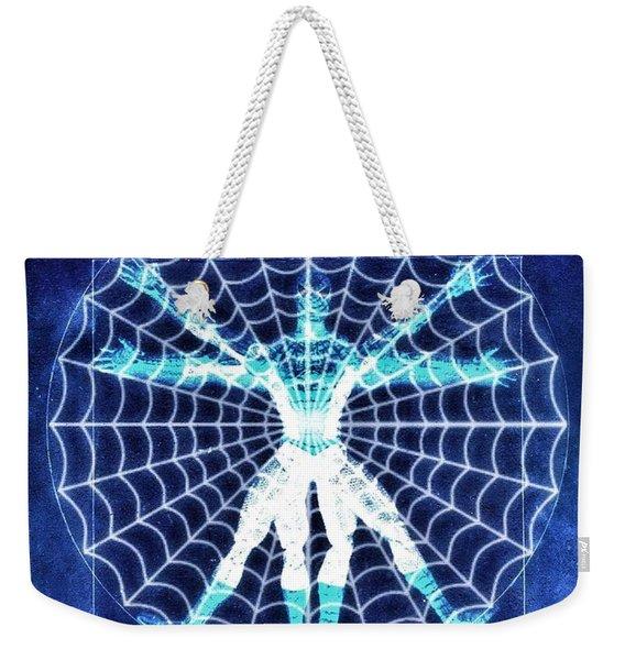 Vitruvian Spiderman White In The Sky Weekender Tote Bag