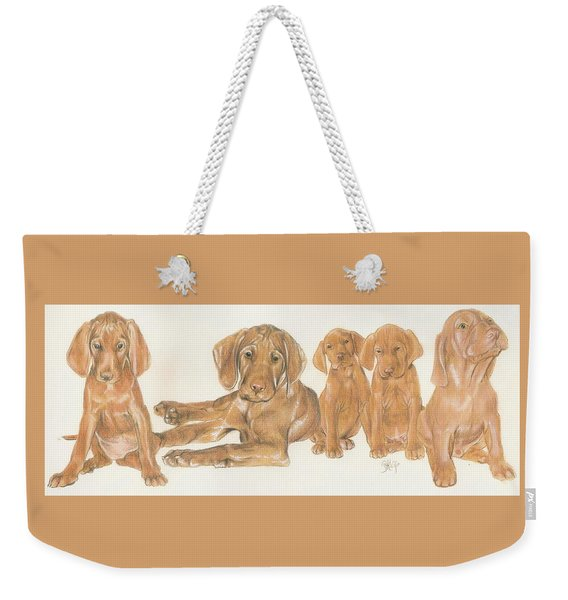 Weekender Tote Bag featuring the mixed media Vizsla Puppies by Barbara Keith