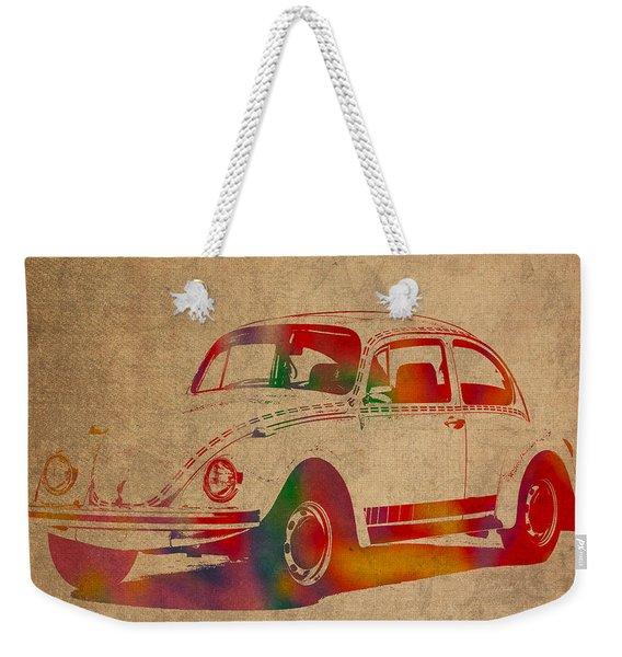 Volkswagen Beetle Vintage Watercolor Portrait On Worn Distressed Canvas Weekender Tote Bag