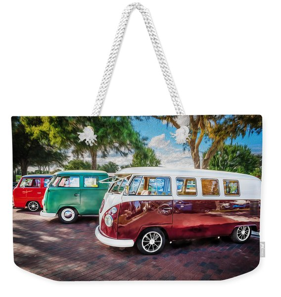 Vw Bus Stop 1964 1961 1968 Vans Trucks Painted Weekender Tote Bag