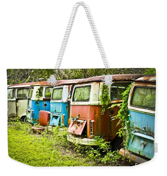 Weekender Tote Bag featuring the photograph Vw Buses by Carolyn Marshall