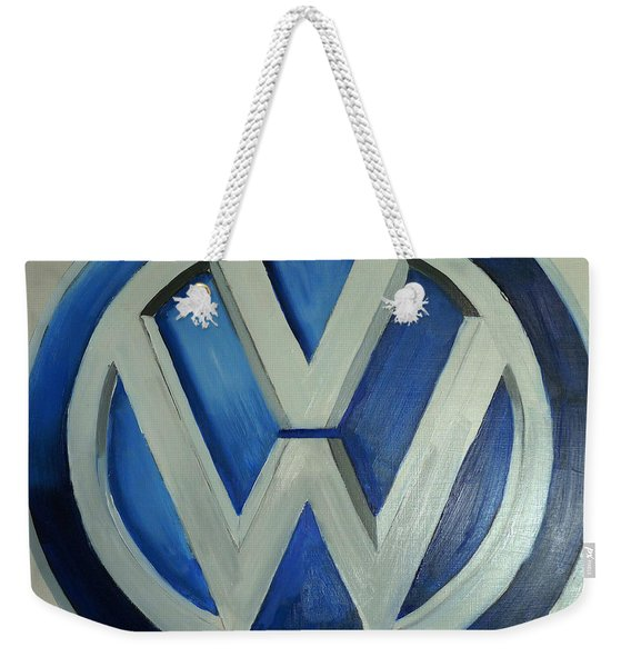 Weekender Tote Bag featuring the painting Vw Logo Blue by Richard Le Page
