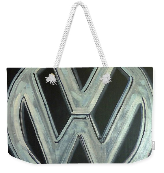 Weekender Tote Bag featuring the painting Vw Logo Chrome by Richard Le Page