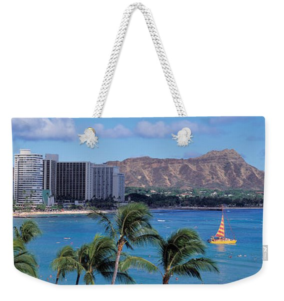 Waikiki Beach, Honolulu, Hawaii, Usa Weekender Tote Bag